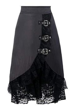 Steampunk Skirt, Steampunk Fashion, Victorian Fashion, Gothic Fashion, Dress Skirt, Lace Skirt, Satin Skirt, Black Midi Skirt, Party Skirt