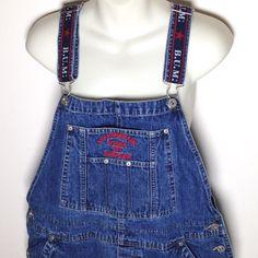 Vtg 1990s BUM Equipment Overalls Shorts XL Denim Blue Jean Carpenter Shortalls #BUM #Shortalls