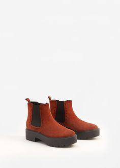 Кожаные ботинки на платформе | MANGO МАНГО