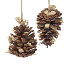 From the Rustic Lodge Collection With country-style ambiance, these pine cone Christmas ornaments will lend a rustic feel to your tree Includes two sty 31349522