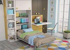 Habitacion infantil con cama abatible vertical de 105 x 190 armario