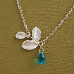 Blue Topaz Quartz Teardrop  And Three Leaf White by TatyanaVictory, $18.99