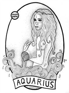 Aquarius by massica-art Aquarius Symbol Tattoo, Aquarius Constellation Tattoo, Aquarius Art, Astrology Tattoo, Aquarius Horoscope, Pisces, Zodiac Signs Symbols, Zodiac Sign Tattoos, Dark Astrology