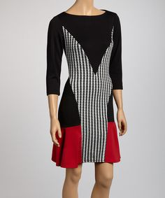 Take a look at the Gabby Skye Black & Ivory Geometric Color Block Dress on #zulily today!