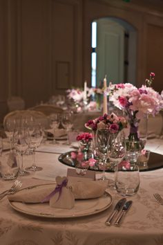 Pink and intimate events can be hosted as well at Four Seasons Prague Four Seasons Hotel, Social Events, Event Venues, Prague, Old Town, Table Settings, Table Decorations, Pink, Old City