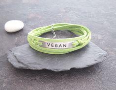 Vegan bracelet, Healthy living, Veggie lover gift, Gift for vegan friend, Custom text, Green bracelet, Vegan leather, Christmas gift, by PawlowskiCreations on Etsy Washer Bracelet, Cord Bracelets, Stone Bracelet, Bracelets For Men, Bracelets With Meaning, Vegan Gifts, Colorful Bracelets, Sentimental Gifts, Gift For Lover