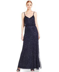 Adrianna Papell Spaghetti-Strap Beaded Blouson Gown, Midnight - $259, sizes 0-18