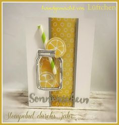 Lüftchen Stempelstudio Bergedorf: Stempelnd durchs Jahr - August 2016, Glasklare Grüße, Zauberhafte Blüten, Jar of Love, lemon, Zitrone, Blog Hop, Stampin Up!