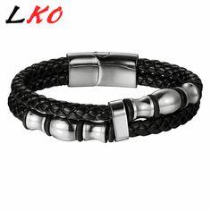 LKO 200mm 220mm Fashion Stainless Steel Men Bracelet Genuine Leather Bracelets & Bangles Man Jewelry