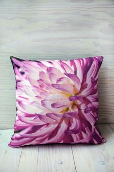 Pink flower decorative throw pillow featuring by PenumbraImages, $60.00