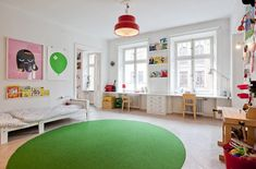 desks facing the windows  kids room - all that Scandinavian white is so soothing
