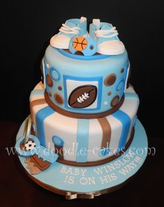 Cute baby shower cake idea for the sports lover