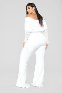 Women S Plus Size Cotton Knit Dresses Plus Size White Outfit, Plus Size White Jumpsuit, Plus Size Outfits, Elegant Dresses Classy, White Slacks, Dresser, Plus Zise, Womens Linen Clothing, Off Shoulder Jumpsuit