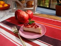 Cheesecake with Pomegranate Sauce Recipe | Marcela Valladolid | Food Network