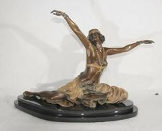 French Bronze Art Deco Thebian Dancer Signed Colinet | eBay