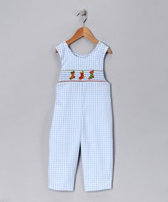Classic! Blue Gingham Stocking Overalls on #zulily