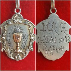 Antique Spanish Engraved First Communion Medal Sterling Silver Catholic Jewelry Initials MAG GAM May 24, 1908 Eucharist Religious by PinyolBoiVintage on Etsy