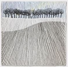 Trees on the Hill - sketched pencil lines as stitches zentangle Textile Fiber Art, Textile Artists, Landscape Art Quilts, Landscapes, Free Motion Embroidery, Embroidery Stitches, White Embroidery, Thread Painting, Tree Art