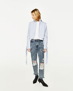 Image 1 of HIGH-RISE RIPPED MOM FIT JEANS from Zara