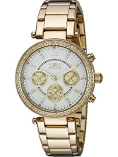 Invicta Women's 21387 Angel 18k Gold Ion-Plated Stainless Steel Bracelet Watch ❤ Invicta