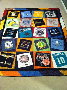 I made this memory quilt for my granddaughter. I used 20 of her old t-shirts. Such a great idea for a present especially a graduation gift! I made this memory quilt for my granddaughter. I used 20 of her old Quilting Tips, Quilting Projects, Sewing Projects, Quilting Board, Sewing Ideas, Sports Quilts, Quilt Storage, Old T Shirts, Tee Shirts