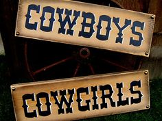 COWBOYS COWGIRLS Pair Rustic Western Signs ~ Home Decor ~ Business Restroom