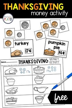 This Thanksgiving money activity is perfect for a fall math center for first and second graders! This activity can be taught in a small group and implemented into an easy and engaging math center.