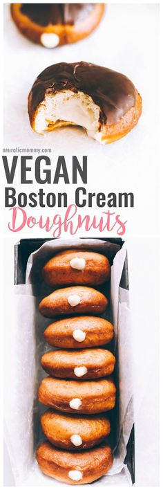 Vegan Boston Cream Doughnuts These are generously filled with creamy vanilla custard and coated in a thick layer of dairy free chocolate making this a snack must have! Healthy Vegan Dessert, Coconut Dessert, Vegan Dessert Recipes, Vegan Treats, Vegan Foods, Vegan Dishes, Dairy Free Recipes, Vegan Snacks, Gluten Free