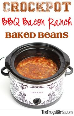 Crockpot BBQ Bacon Ranch Baked Beans Recipe from TheFrugalGirls.com