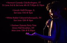 By thesheertruth: Upcoming stand up shows in VT Chicago Indianapolis and BK! Come! Vermont Comedy Club-Burlington VT Fri June 3rd & Sat June 4th @ 7:30pm & 10pm Lincoln Hall-Chicago IL Sat June 11th @ 9pm White Rabbit Cabaret-Indianapolis IN Sun June 12th @ 8pm Sasheer Zamata Party Time Union Hall Brooklyn NY Mon June 13th @ 8:30pm #womenincomedy #sasheerzamata