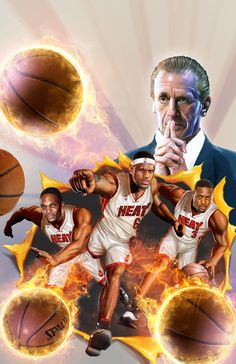MIAMI HEAT -  ESPN magazine liked my Kobe Bryant opener so much that they asked me to provide another painting with the Miami Heat. I was the only artist asked to do two paintings for their 2012 NBA Preview Issue, so I consider myself charmed! Done as a collaboration with Marvel Comics, the image is a recreation of a classic comic book cover: X-men Giant Sized #1! The Players are Lebron James, Dwayne Wade, and Chris Bosh with Pat Riley playing Professor X's part!