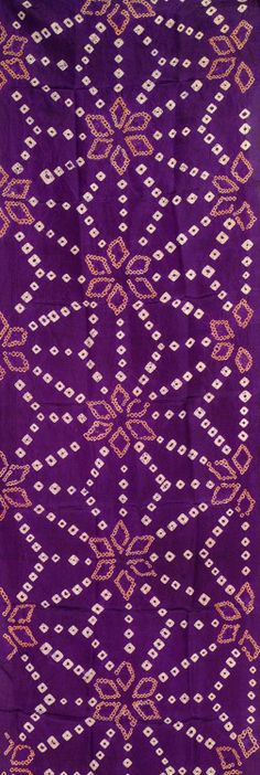 Kimono panel. Silk in a deep shade of regal purple. The asa (hemp leaf) pattern -created utilizing the shibori technique- is done in white and a melonish pink shade.  1930-1940, Japan. Yorke Antique Textiles