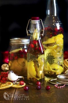 Homemade Christmas Spice Infused Vodka and Liqueur with Fresh Cranberries