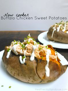 Slow Cooker Buffalo Chicken Stuffed Sweet Potatoes