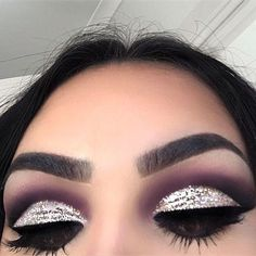 Image result for silver glitter cut crease