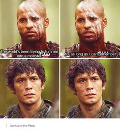 "#The100 2x10 ""Survival of the Fittest"" -  Lincoln and Bellamy"