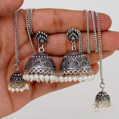 Indian bollywood ethnic oxidised silver tone long chain jhumka earring GSE265SLV