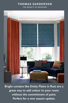 Bright colour doesn't have to be placed near a neutral for it to compliment. Creating a colour clash effect with two strong shades can really brighten a room adding a fun and playful twist. Here we've layered Entity plains in Rust with our Issoria Peacock Roman Blinds all part of our exclusive Harlequin Collection.