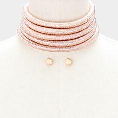 Rose Gold Metallic Cord Choker  #pageantnecklaces #chokernecklaces #promnecklaces #promjewelry #pageantjewelry