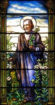 Holy Angels RC Church 348 Porter Avenue, Buffalo, NY St. Joseph holding Lilies, Tiffany Studios window