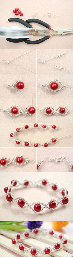 Tutorial on How to Make Your Own Red Pearl Bracelet with Clear Seed Beads from LC.Pandahall.com #pandahall