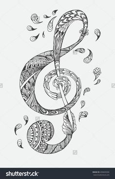 hand drawn music key with ethnic ornaments doodle pattern vector illustration henna mandala zentangle - Mehndi Patterns Colouring Sheets