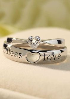 Heart-Cut Diamond Engagement Ring & Open Heart Black Endless Love Engraved Wedding Band Set, Sterling Silver Promise Rings for Couples, Matching His and Hers Jewelry Heart Engagement Ring & Endless Love Wedding Band Set Heart Engagement Rings, Engagement Ring Settings, Vintage Engagement Rings, Wedding Band Sets, Wedding Rings For Women, Diamond Wedding Bands, Diamond Rings, Promise Rings For Couples, Couple Rings