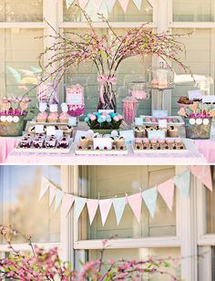 buffet table of sweets with whimsical tree branch centerpiece