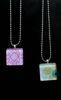 Glass Tile Necklaces How-To.. I already posted something similar to this, but these directions use a paintbrush to spread the glue, which I like, so I wanted to post this too so I remembered that