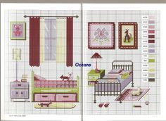 Kids room pattern / chart for cross stitch, crochet, knitting, knotting, beading, weaving, pixel art, micro macrame, and other crafting projects.