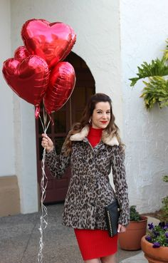 Red and leopard Valentine's Day outfit. Love.