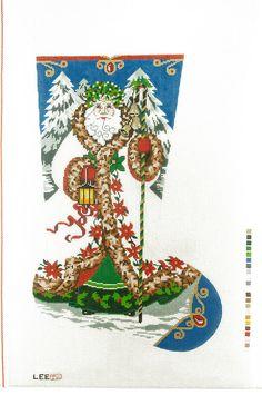 NEEDLEPOINT HAND PAINTED Canvas LEE Christmas Stocking ELEGANT SANTA 13M NEW  $135
