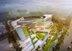 Projects   (주)해마종합건축사사무소 Conceptual Architecture, Modern Architecture Design, Sustainable Architecture, Modern Buildings, Landscape Plans, Landscape Design, Site Development Plan, Hospital Plans, Hospital Architecture