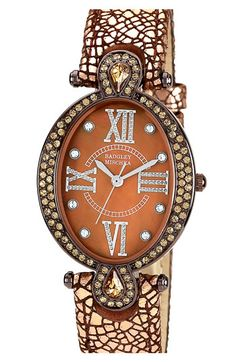 Loving all of the brown for Fall -- Badgley Mischka oval case watch.
